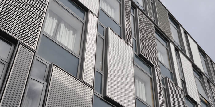 Different facades used in a multi-storey accommodation block
