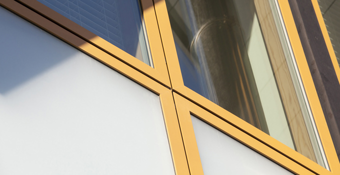 Golden aluminium frames delivers the warm, natural finish to the window and showcases uniformity