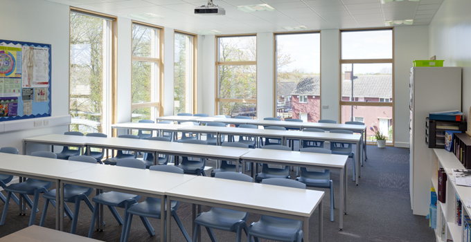 Class room with windows in timber frame