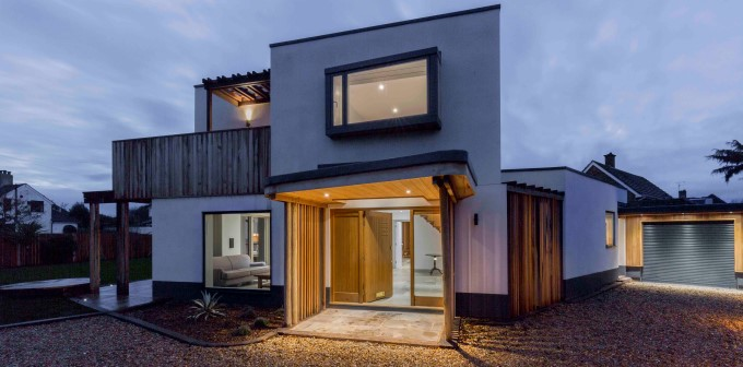 House with warm light at night considers safety requirements
